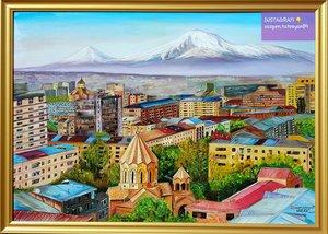 Armenische Stadt von Eriwan mit dem schönen Ararat