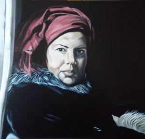' Frau mit rotem Kopftuch '
