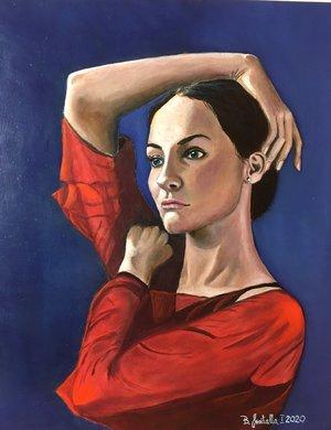 """""""Junge Frau in einem roten Tüllkleid"""","""