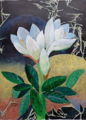Weiße Amaryllis mit Kirschlorbeer