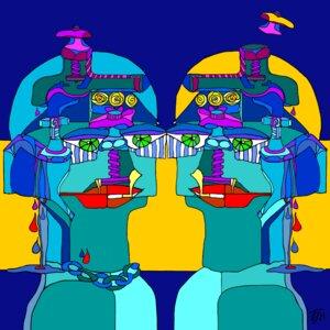 Zwillingsfrau gespiegelt