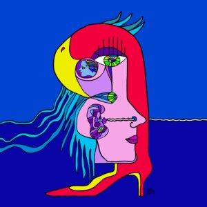 Dominierte Frau spiegelt sich in ihren Accessoires - der Papagei in High-Heels