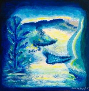 Abstrakt blau-türkis